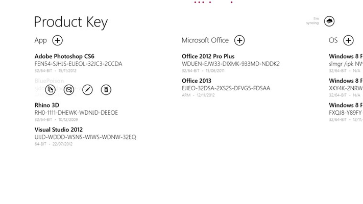 By clicking on a product key appear some very useful controls.