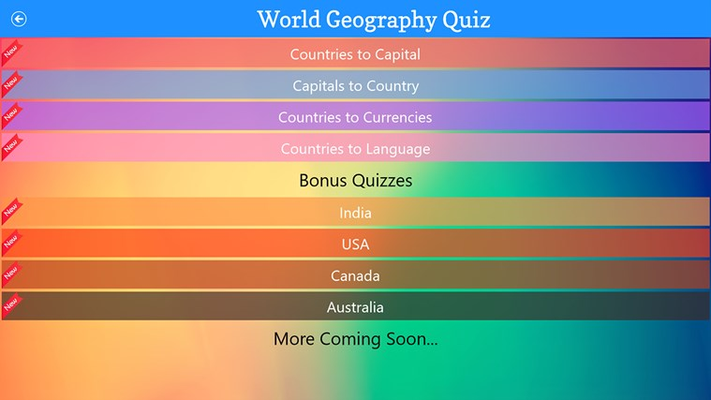 Country Capitals, Currencies and Languages Quiz for Windows 8