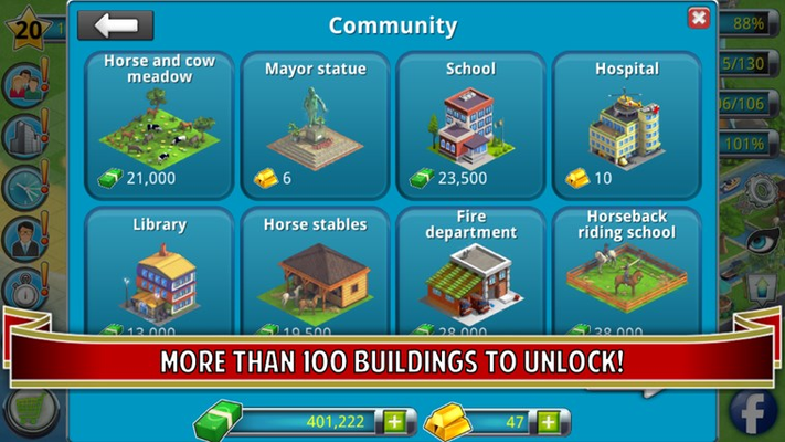 More than 100 buildings to unlock!