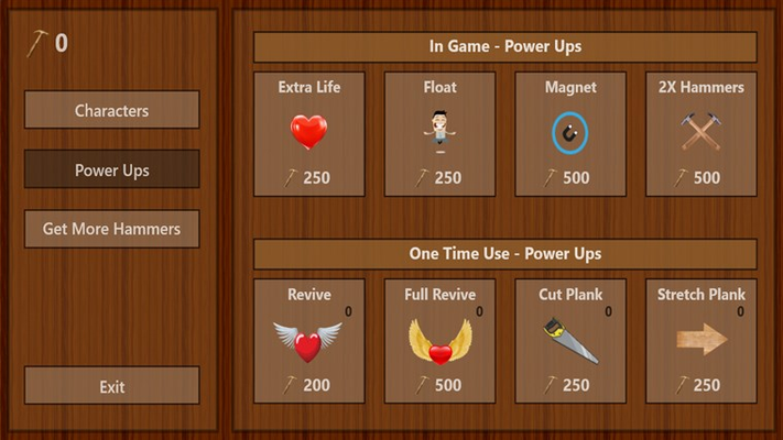 Purchase power ups with hammers you collect to help you get through levels.