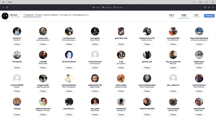 Quickly view a user's follower or following list.