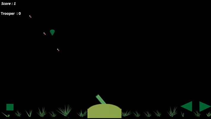 On-screen touch control with bullets wizzing past the paratroopers.