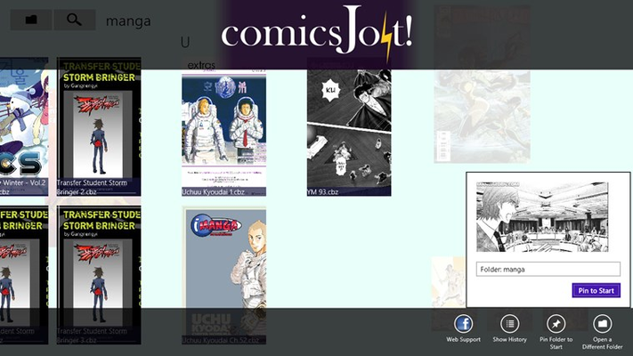 Pin a folder to the Start Screen - have a section full of comic folders!