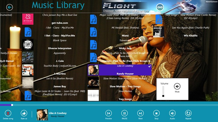 Library with built-in music player