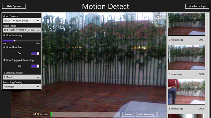 Motion Detect for Windows 8