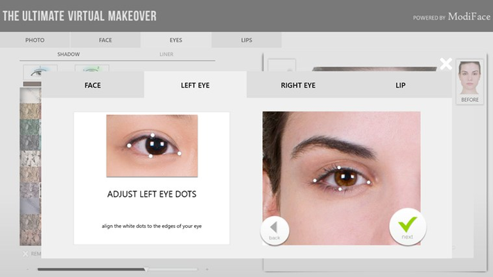 Makeover app will auto-detect your face and facial features when you upload your own photos, but feel free to adjust calibration points for a better result!