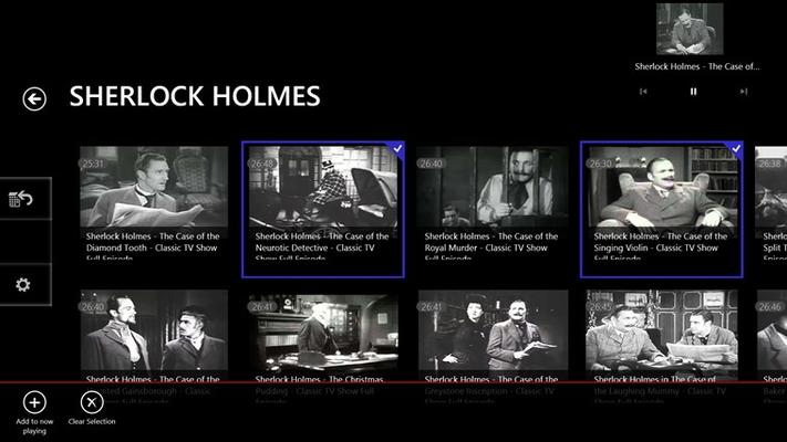 Sherlock Holmes shows listing page