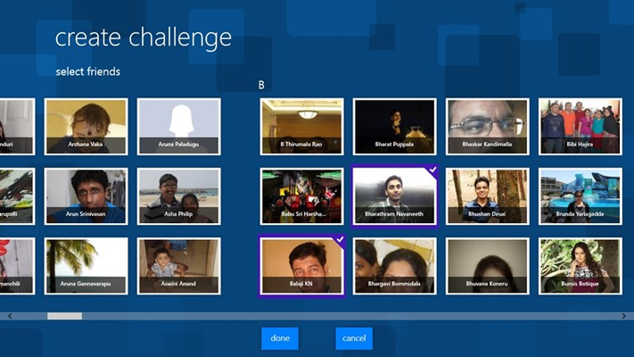 Select friends to send challenge
