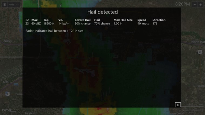Storm attribute table predicts hail size and probability of hail