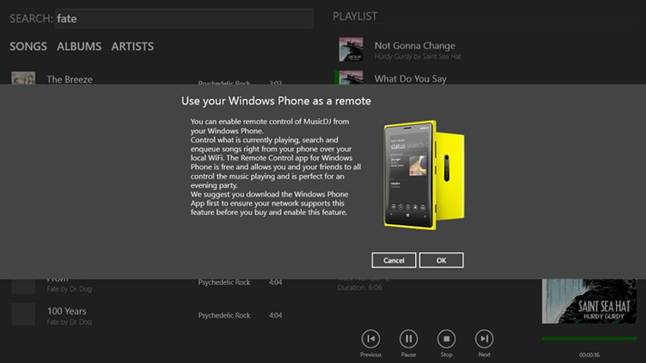 Use your Windows Phone to remote control MusicDJ.