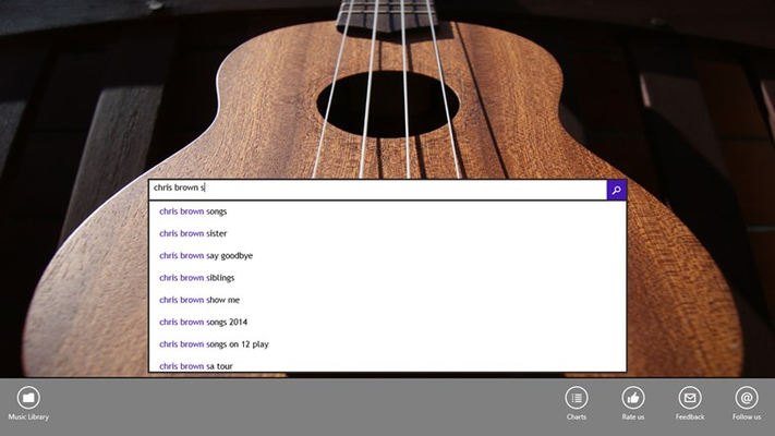 Home page with serachbar and access to music charts