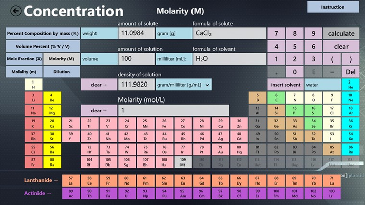 Calculate molarity with ease.  Or if you know the molarity and you need the calculate the amount of solute, just input the molarity and the app will calculate the solute for you.