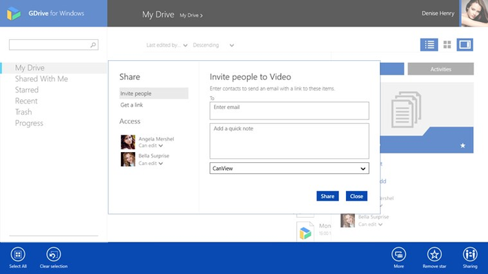 Share your files and folders with GDrive for Windows