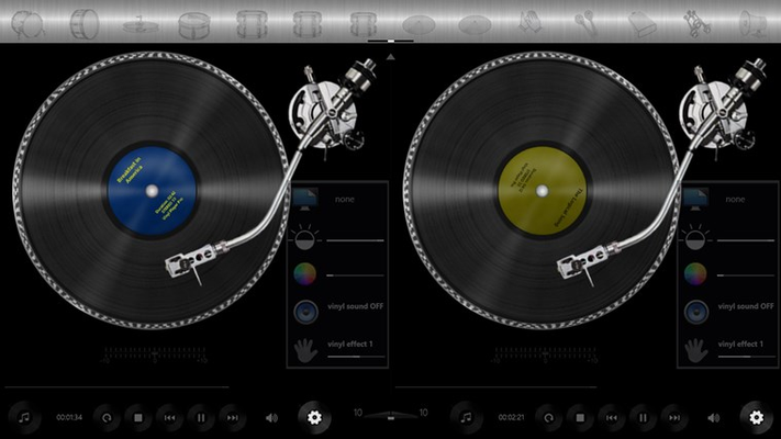 Background / vinyl record scratch / hand-move effect settings