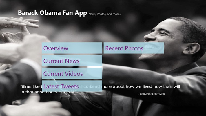 Barak Obama - Fan Club Overview Screen