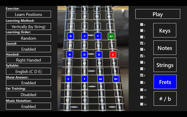 Easily select any combination of frets to work on