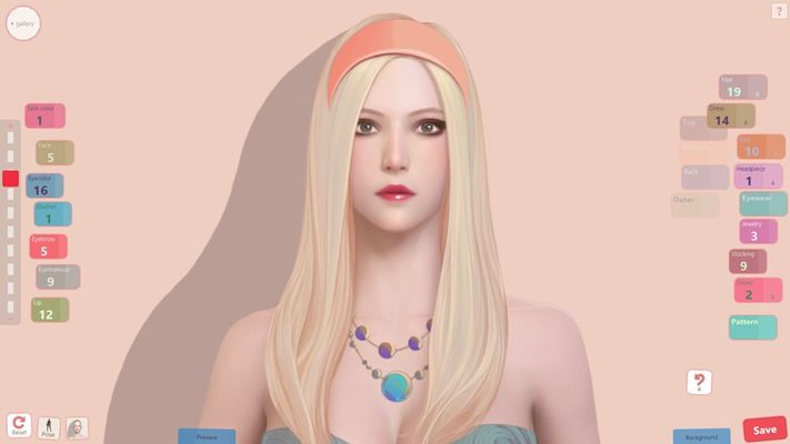 Create your style with a variety of items and makeup.
