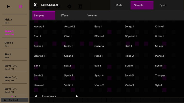 Sequencer includes two sample packs with 70 total sounds.