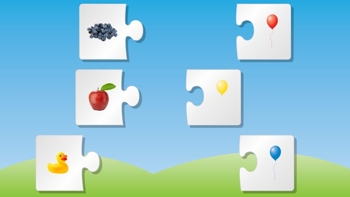 Learn colors and association with real life objects.  Put learning to test on puzzle matching
