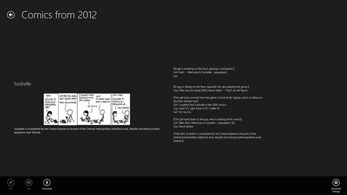 Application bar buttons allow download, pinning or saving of individual comics.