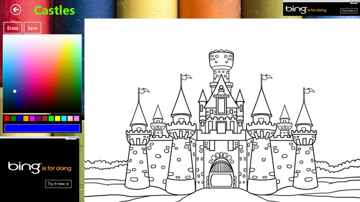 Castle ready to be colored