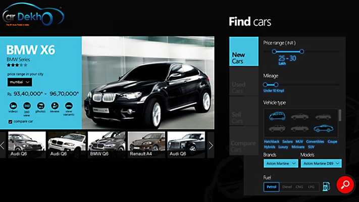 Find new cars by brand, model, price range, body type, and mileage.