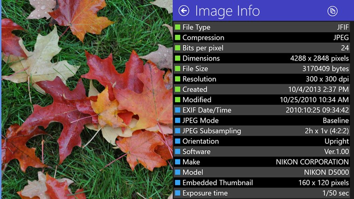 Display detailed EXIF information for JPEG photos.