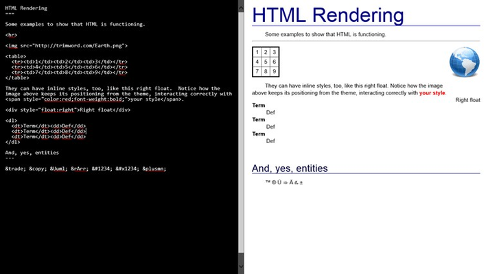"Showing custom HTML and inline styling.  This screenshot was rendered with the ""Modern Clean"" theme, and some custom code."
