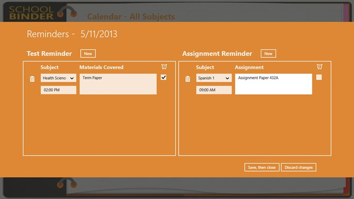 Manage reminders for tests and assignments.