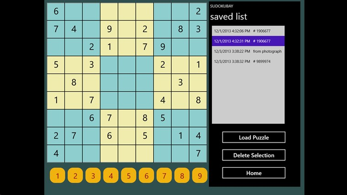 The save screen lets user select from a list of saved puzzles.
