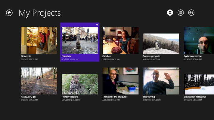 View, edit, share, or export any of your cliplet projects from within the application.