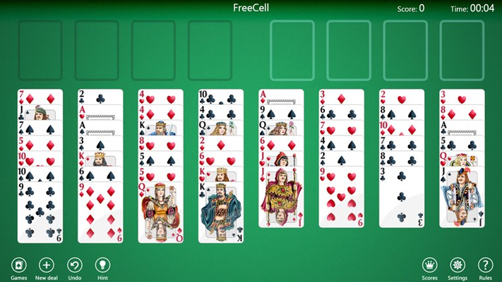 Play four popular FreeCell solitaire variations