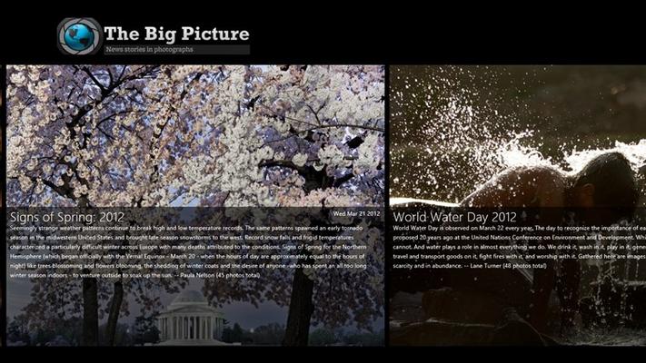 Top menu of recent Big Picture slideshows