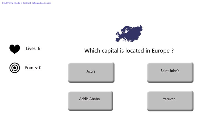 Do you know the capitals and continent? Try to match them