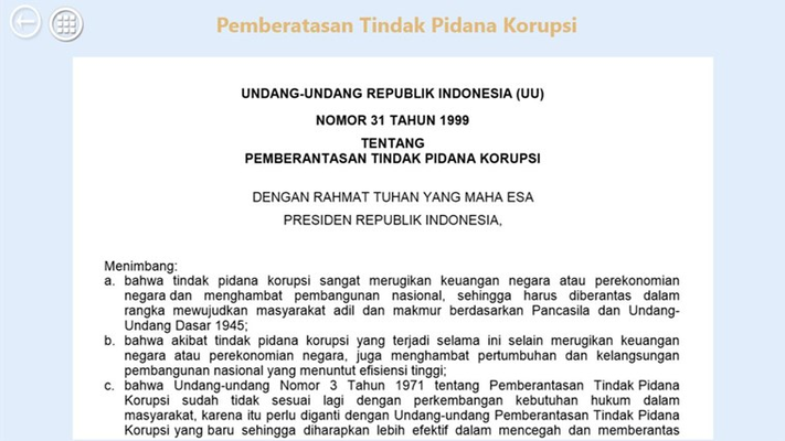 Setiap warga negara Indonesia wajib tahu tentang semua peraturan perundangan, termasuk perundangan tentang tindak pidana korupsi.