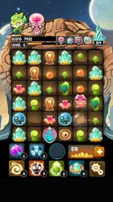 Hybrid of match-3 and sliding tile puzzles