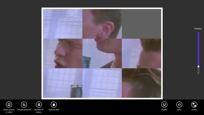 Shuffle your favorite music videos. On the right a volume control is available.