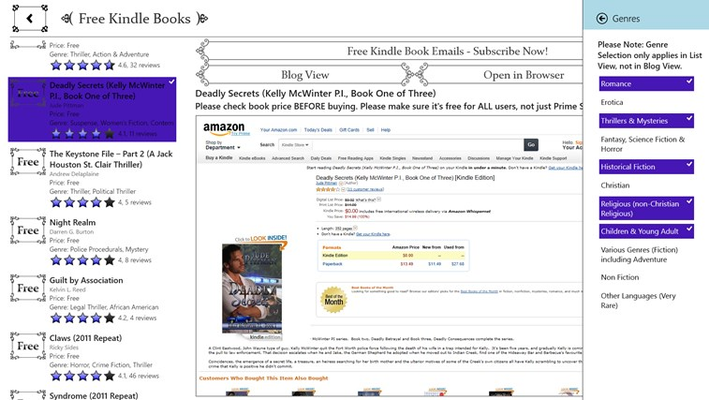 Free Kindle Fire Books Genre Filtering