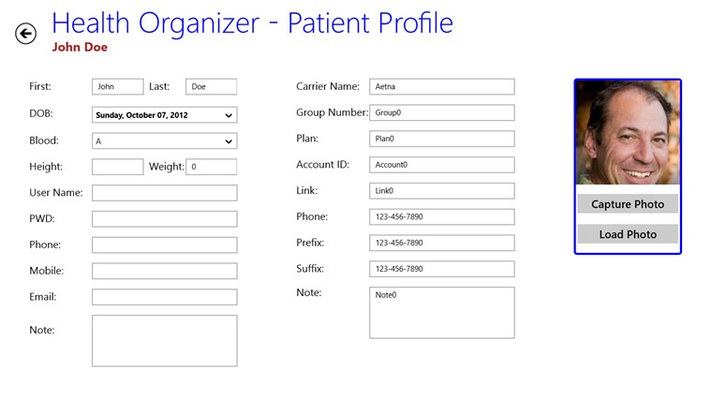 Health Organizer for Windows 8