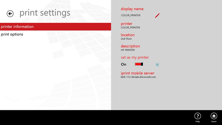 Displays information about the printer and the server on which this printer is configured.