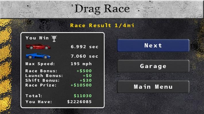 Earn money with each race to progress
