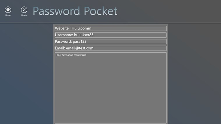 This is the page where you will be able to view your password details