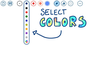Tap and hold to select among a set of colors