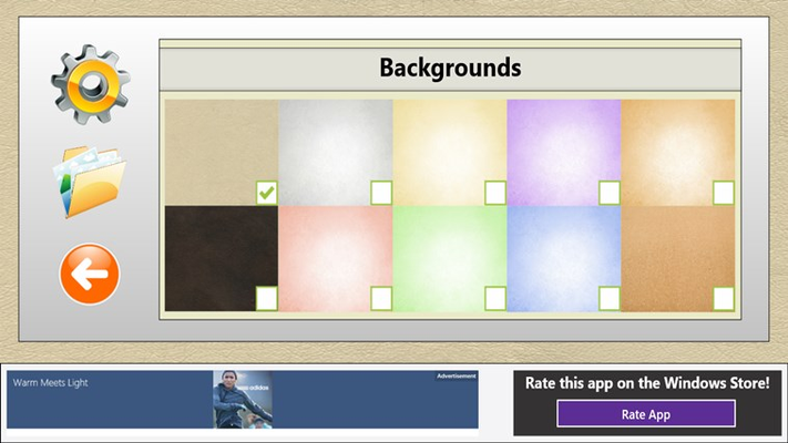Choose from 10 different background styles.
