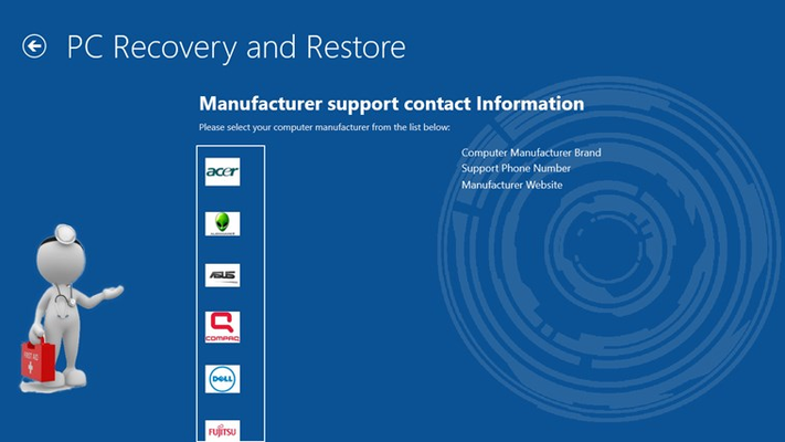 Contact information for computer manufactures