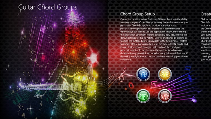 Click the buttons to setup the app so that you can create and categorize your new Chord Groups for your preferred Artists, Genres, and Bands. Add new Chord Group Types at any time.