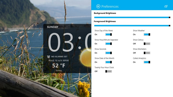 App preferences for clock and weather customization