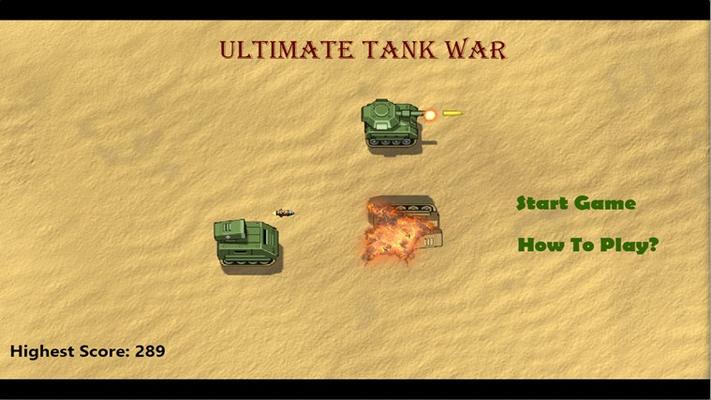 Ultimate Tank War Game Start Screen