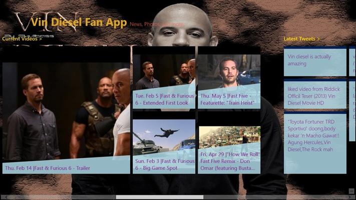 Vin Diesel - Fan Club Videos and Tweets Screen