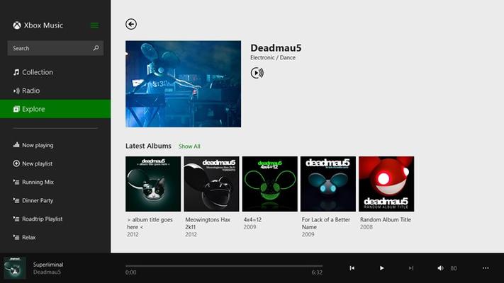Music for Windows 8